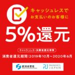 HappyLifeはキャッシュレス消費者還元事業者です(クレジット決済とPayPay支払いが対象。5%還元)